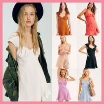 Free People Short Casual Style Tight Linen Sleeveless Plain Dresses