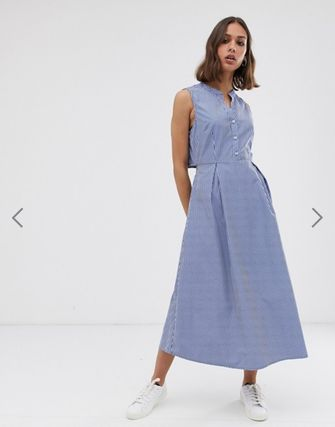 Stripes Casual Style A-line Sleeveless Cotton Long Dresses