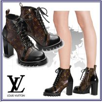 Louis Vuitton Monogram Casual Style Blended Fabrics Leather Block Heels