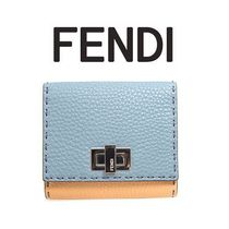 FENDI PEEKABOO Calfskin Bi-color Plain Folding Wallets