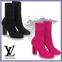 Louis Vuitton Casual Style Blended Fabrics Plain Leather High Heel Boots