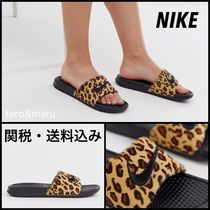 Nike BENASSI Leopard Patterns Open Toe Casual Style Unisex
