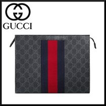 GUCCI Stripes Canvas Blended Fabrics Street Style Clutches