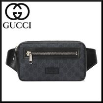 GUCCI Stripes Canvas Blended Fabrics Street Style Hip Packs