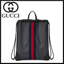 GUCCI Stripes Canvas Blended Fabrics Street Style 2WAY Backpacks
