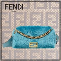 FENDI BAGUETTE Fur 2WAY Chain Plain Party Style Handbags