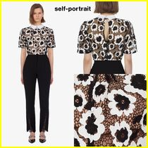 SELF PORTRAIT Short Flower Patterns Puffed Sleeves Elegant Style Cropped
