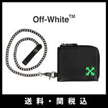 Off-White Street Style Chain Plain Leather Folding Wallets