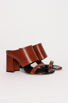 Open Toe Casual Style Plain Leather Block Heels