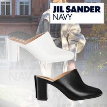 JIL SANDER NAVY Plain Leather Block Heels Elegant Style