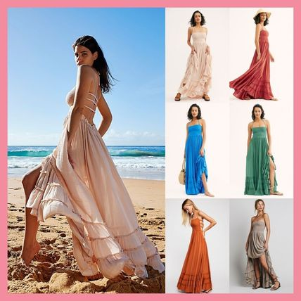 Casual Style Maxi Sleeveless Halter Neck Long Dresses