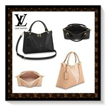 Louis Vuitton Monogram Blended Fabrics 2WAY Leather Elegant Style Totes