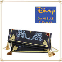 Disney Casual Style Faux Fur Collaboration 2WAY Chain Clutches