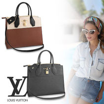 Louis Vuitton CITY STEAMER Street Style 2WAY Bi-color Leather Handbags