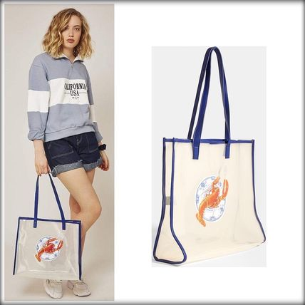Casual Style A4 Crystal Clear Bags Totes