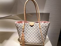 Louis Vuitton DAMIER AZUR Other Check Patterns Casual Style Tassel A4 2WAY Totes