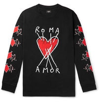 FENDI Crew Neck Heart Street Style Long Sleeves Cotton