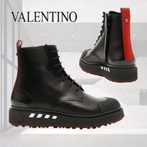 VALENTINO Studded Plain Leather Boots