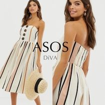 ASOS Stripes Casual Style Flared Cotton Medium Dresses