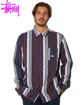 STUSSY Button-down Stripes Long Sleeves Cotton Skater Style Shirts