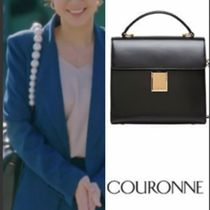 COURONNE Plain Leather Office Style Totes