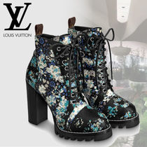 Louis Vuitton Flower Patterns Casual Style Leather Chunky Heels