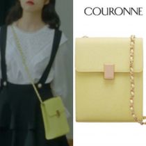 COURONNE Casual Style Plain Leather Shoulder Bags