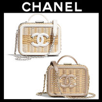 CHANEL Calfskin Blended Fabrics Vanity Bags 2WAY Chain