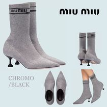 MiuMiu Casual Style Plain Pin Heels Ankle & Booties Boots