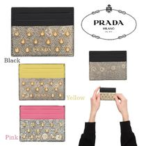 PRADA Studded Other Animal Patterns Leather Card Holders