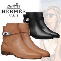 HERMES Plain Toe Street Style Plain Leather Chunky Heels