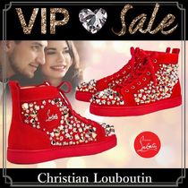 Christian Louboutin Blended Fabrics Studded Street Style Plain Sneakers