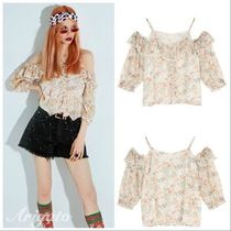 ELF SACK Short Flower Patterns Casual Style Chiffon With Jewels