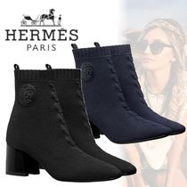HERMES Street Style Plain Leather Block Heels Ankle & Booties Boots