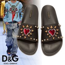 Dolce & Gabbana Heart Unisex Studded Plain Leather Shower Shoes