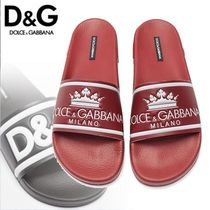 Dolce & Gabbana Unisex Bi-color Leather Shower Shoes Shower Sandals