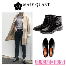 MARY QUANT Casual Style Enamel Plain Mid Heel Boots