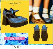 UNIF Clothing Platform Plain Toe Casual Style Plain Shoes