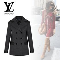 Louis Vuitton Wool Plain Long Elegant Style Peacoats