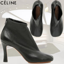 CELINE Square Toe Casual Style Plain Leather Ankle & Booties Boots