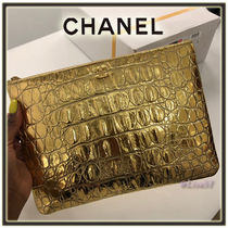 CHANEL Calfskin Other Animal Patterns Elegant Style Clutches