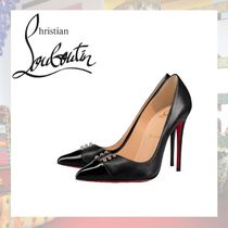Christian Louboutin Studded Plain Leather Pin Heels Pointed Toe Pumps & Mules