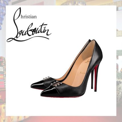 Christian Louboutin Pointed Toe Studded Plain Leather Pin Heels Pointed Toe Pumps & Mules
