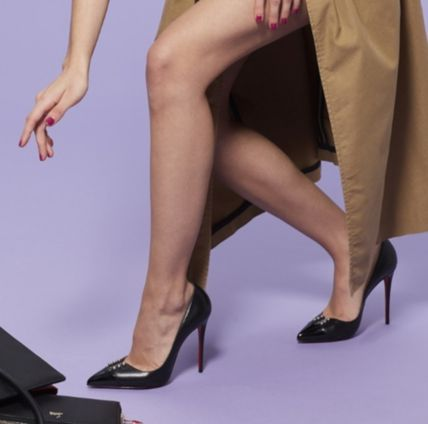 Christian Louboutin Pointed Toe Studded Plain Leather Pin Heels Pointed Toe Pumps & Mules 5