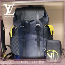 Louis Vuitton DAMIER GRAPHITE Unisex Blended Fabrics Leather Backpacks
