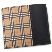 Burberry Other Check Patterns Blended Fabrics Bi-color Leather