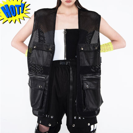 Unisex Faux Fur Street Style Plain Vests & Gillets