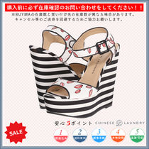 CHINESE LAUNDRY Stripes Open Toe Casual Style Platform & Wedge Sandals