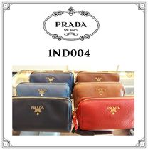PRADA Plain Leather Pouches & Cosmetic Bags