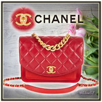 CHANEL MATELASSE Calfskin 2WAY Chain Plain Elegant Style Handbags